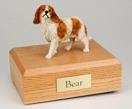 King Charles Spaniel figurine cremation urn w/wood box