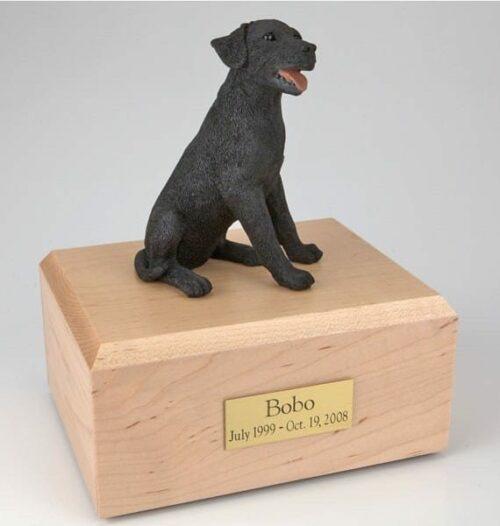 Black Labrador figurine cremation urn w/wood box