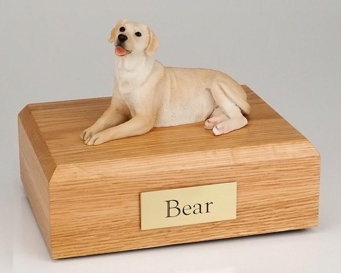 Golden Lab Figurine Cremation Urn W/wood Box