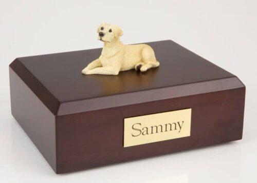 Yellow Lab figurine cremation urn w/wood box