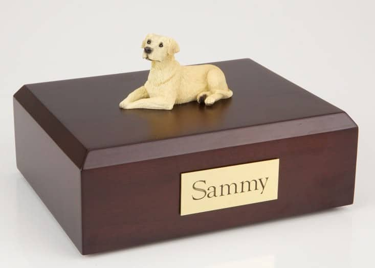 Delicieux Yellow Lab Figurine Cremation Urn W/wood Box