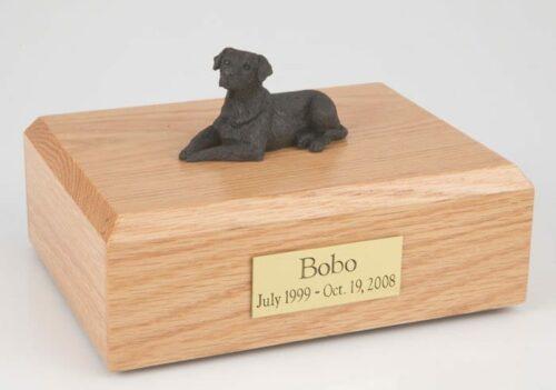 Chocolate Lab figurine cremation urn w/wood box