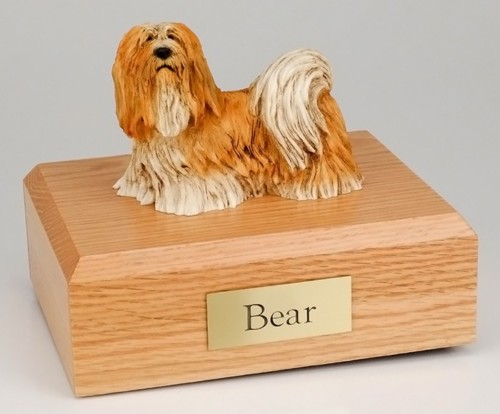 Lhasa Apso figurine cremation urn w/wood box