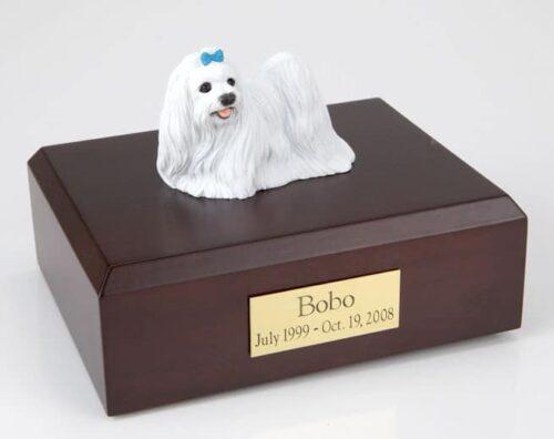 Maltese figurine cremation urn w/wood box