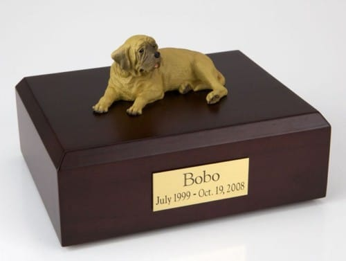 Mastiff figurine cremation urn w/wood box