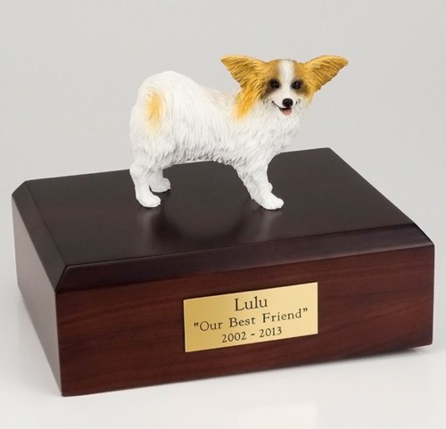 Papillon figurine cremation urn w/wood box