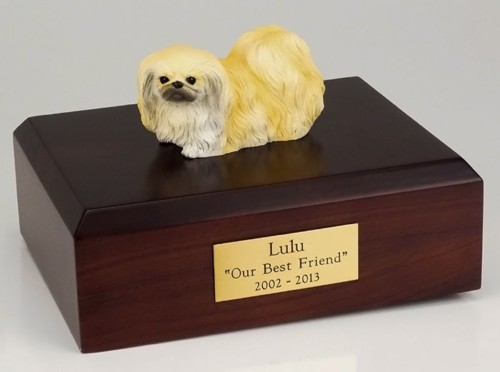 Pekingese figurine cremation urn w/wood box