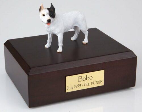 Pit Bull Terrier figurine cremation urn w/wood box