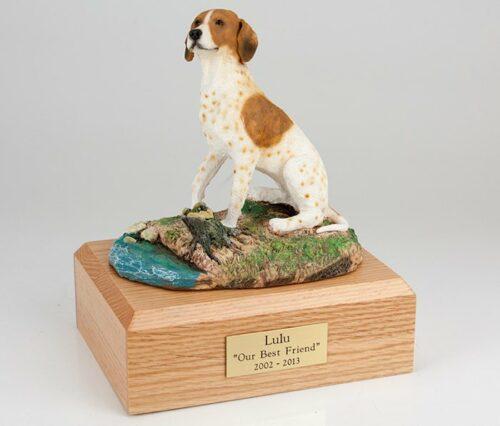 Pointer figurine cremation urn w/wood box