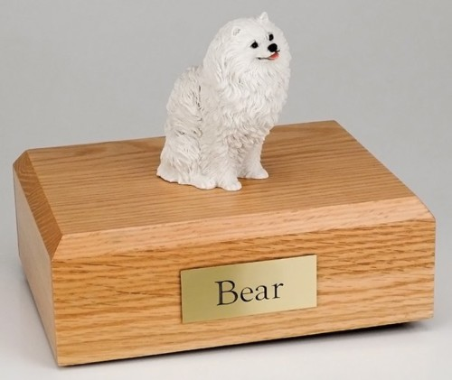 Pomeranian figurine cremation urn w/wood box