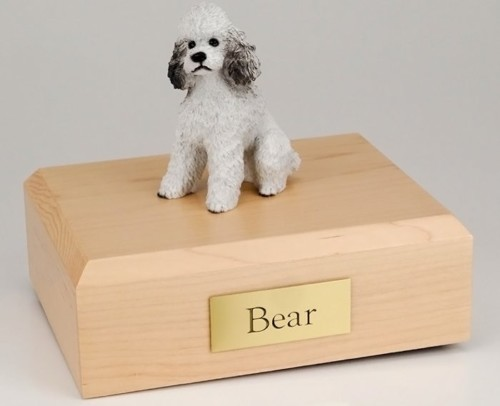 Poodle figurine cremation urn w/wood box