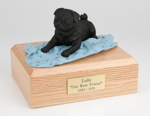 Black Pug figurine cremation urn w/wood box