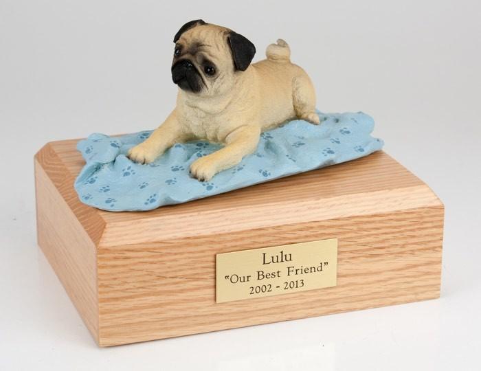 Fawn Pug figurine cremation urn w/wood box