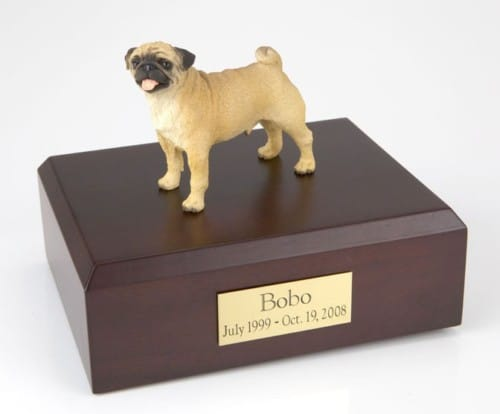 Pug figurine cremation urn w/wood box