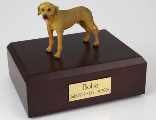 Rhodesian Ridgeback figurine cremation urn w/wood box