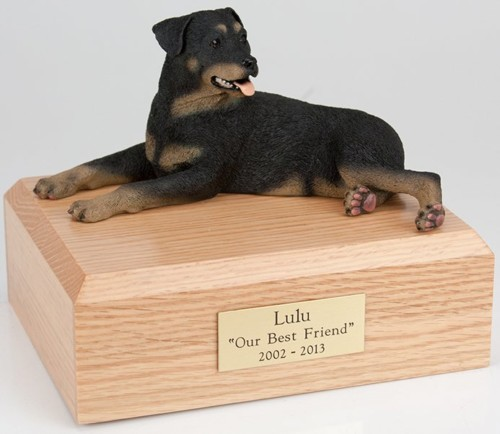 Rottweiler figurine cremation urn w/wood box