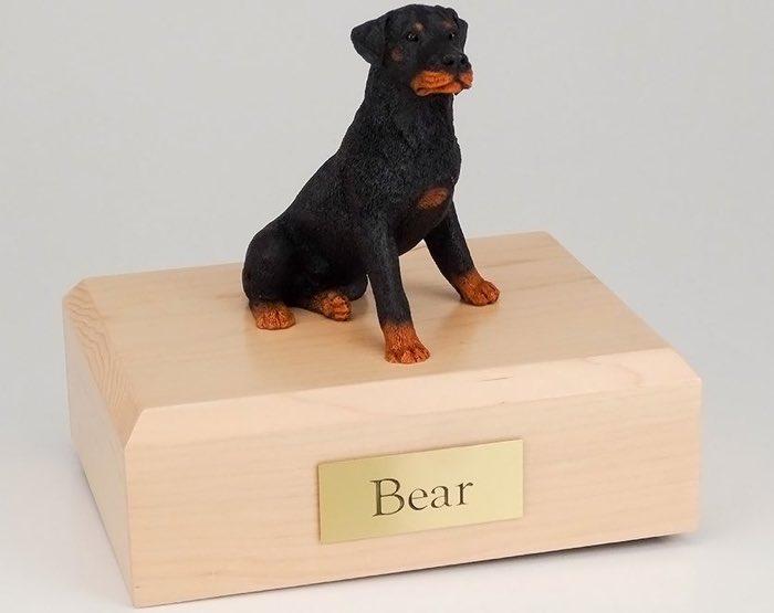 Rottweiler figurine cremation urn w/wood box