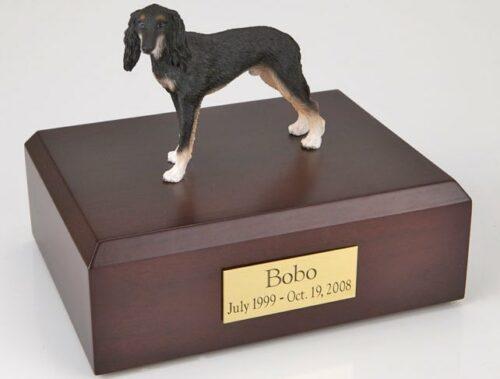 Saluki figurine cremation urn w/wood box