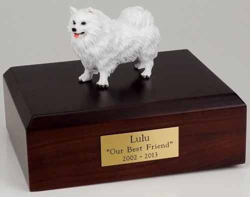 Samoyed figurine cremation urn w/wood box