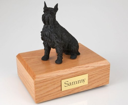 Schnauzer figurine cremation urn w/wood box