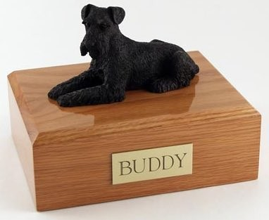 Schnauzer figurine cremation urn w/wood box