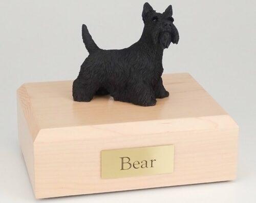 Scottish Terrier figurine cremation urn w/wood box
