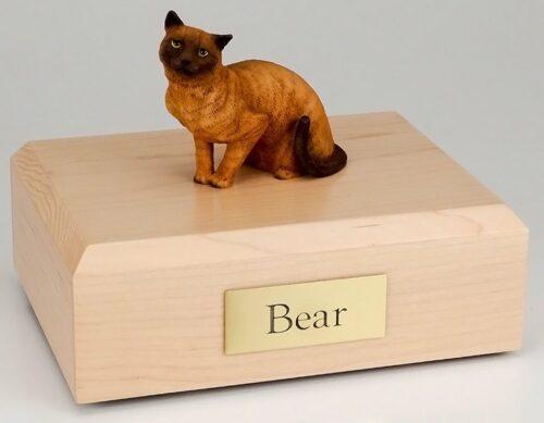 Burmese/Himalayan cat figurine cremation urn w/wood box
