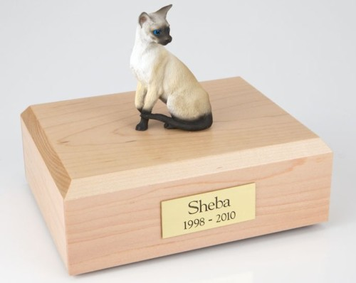 Siamese cat figurine cremation urn w/wood box