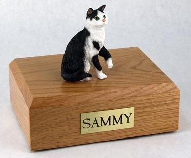 Black/White Tabby cat figurine cremation urn w/wood box