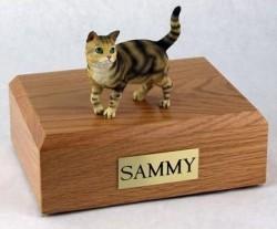 Brown Tabby cat figurine cremation urn w/wood box