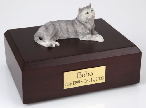 Gray Tabby cat figurine cremation urn w/wood box
