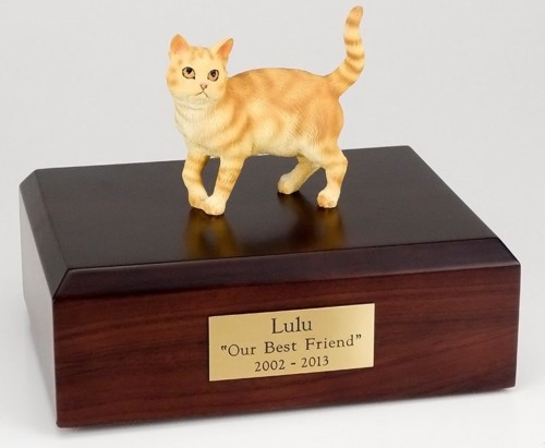 Orange Tabby cat figurine cremation urn w/wood box