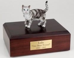 Silver Tabby cat figurine cremation urn w/wood box