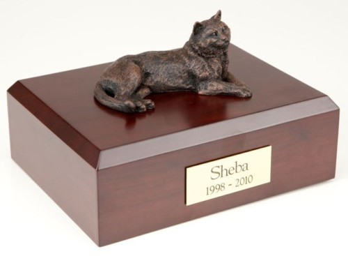 Bronze-look Tabby cat figurine cremation urn w/wood box