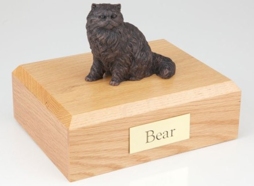 Bronze-look Persian cat figurine cremation urn w/wood box