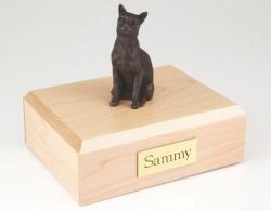 Bronze-look Siamese cat figurine cremation urn w/wood box