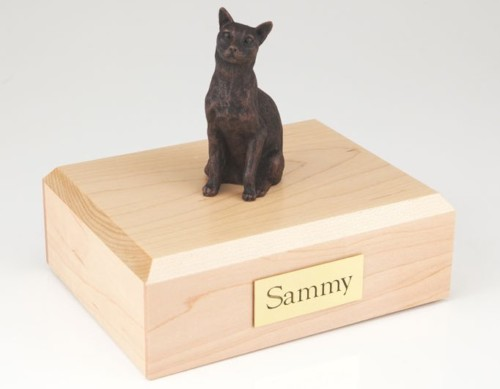 Bronze-look Siamese cat figurine cremation urn w/wood box