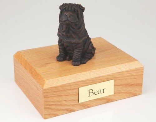 Bronze look Shar Pei figurine cremation urn w/wood box