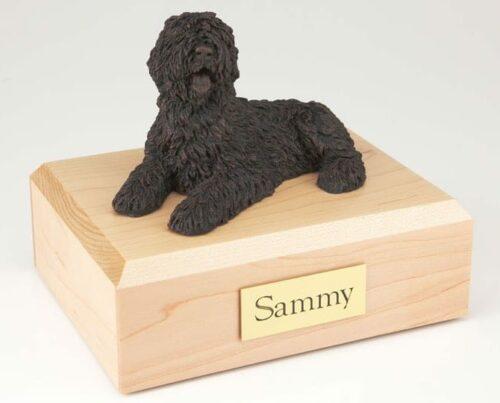 Bronze Look Sheepdog figurine cremation urn w/wood box