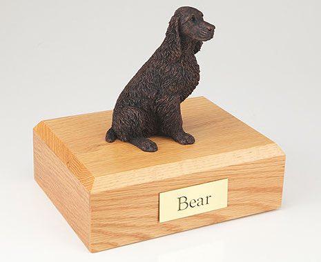 Bronze look Springer Spaniel figurine cremation urn w/wood box