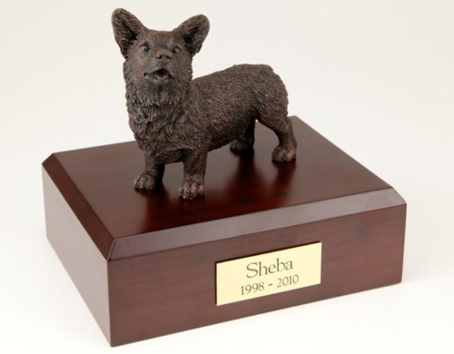 Bronze-look Welsh Corgi figurine cremation urn w/wood box