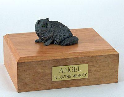 Gray Persian cat figurine cremation urn w/wood box