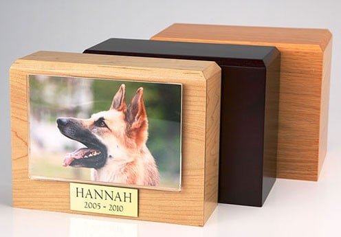 Pet photo urn, made from solid hardwood