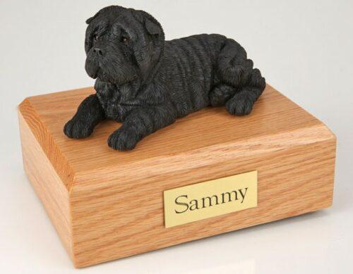 Shar Pei figurine cremation urn w/wood box