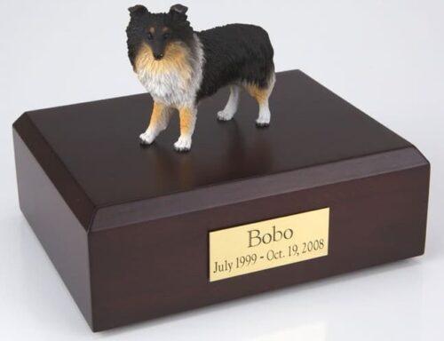 Sheltie figurine cremation urn w/wood box