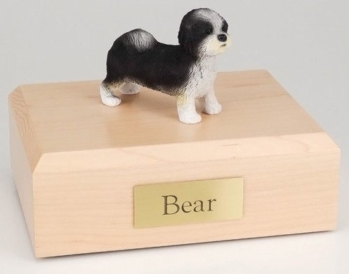 Shih Tzu figurine cremation urn w/wood box
