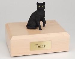 Shorthair black cat figurine cremation urn w/wood box