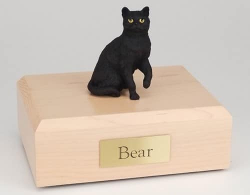 Shorthair black cat figurine cremation urn w/wood box