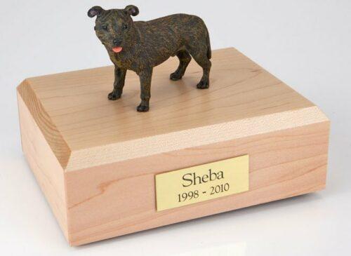 Staffordshire Bull Terrier figurine cremation urn w/wood box