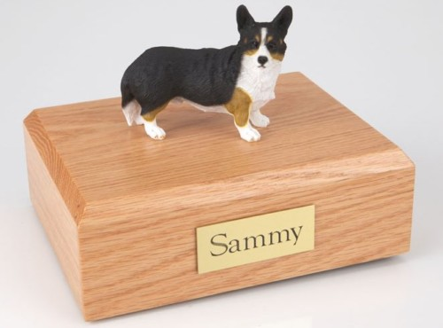 Welsh Corgi figurine cremation urn w/wood box